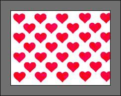 Red Hearts on Silver Foil 1m x 400mm wide